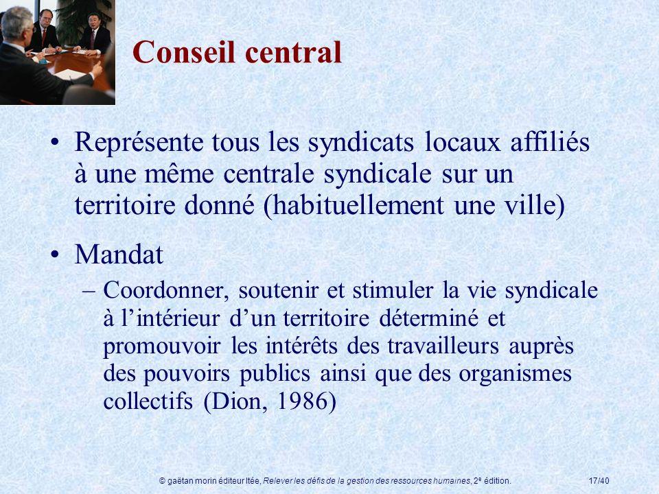 © gaëtan morin éditeur ltée, Relever les défis de la gestion des ressources humaines, 2 e édition.17/40 Conseil central Représente tous les syndicats