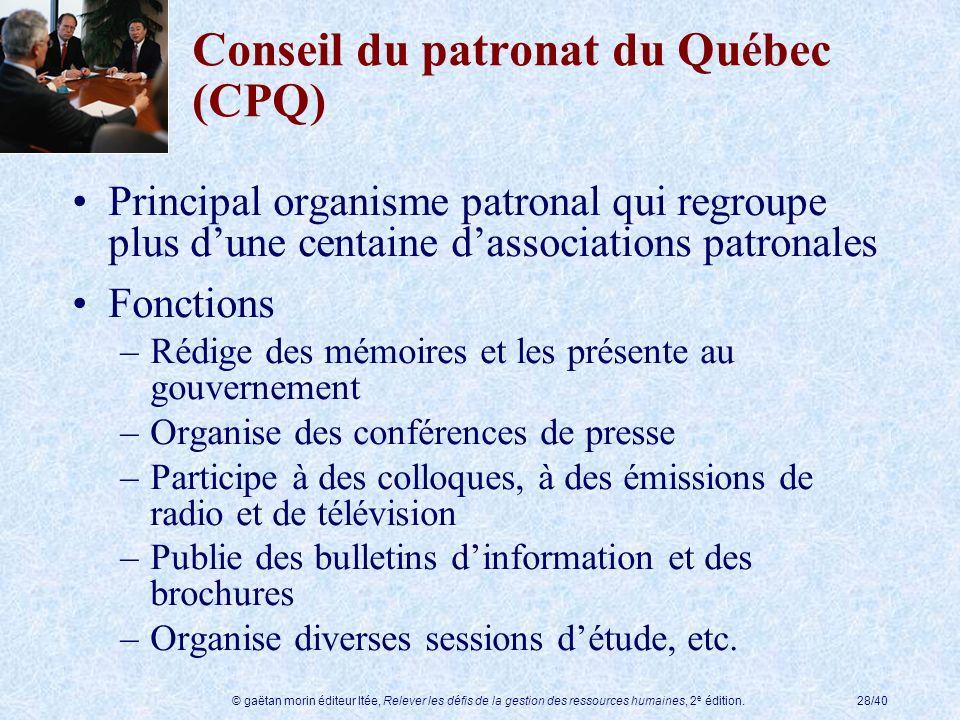 © gaëtan morin éditeur ltée, Relever les défis de la gestion des ressources humaines, 2 e édition.28/40 Conseil du patronat du Québec (CPQ) Principal
