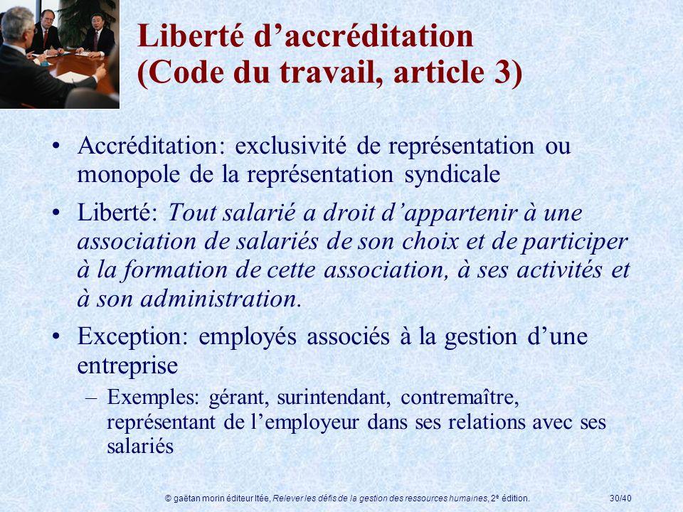 © gaëtan morin éditeur ltée, Relever les défis de la gestion des ressources humaines, 2 e édition.30/40 Liberté daccréditation (Code du travail, artic