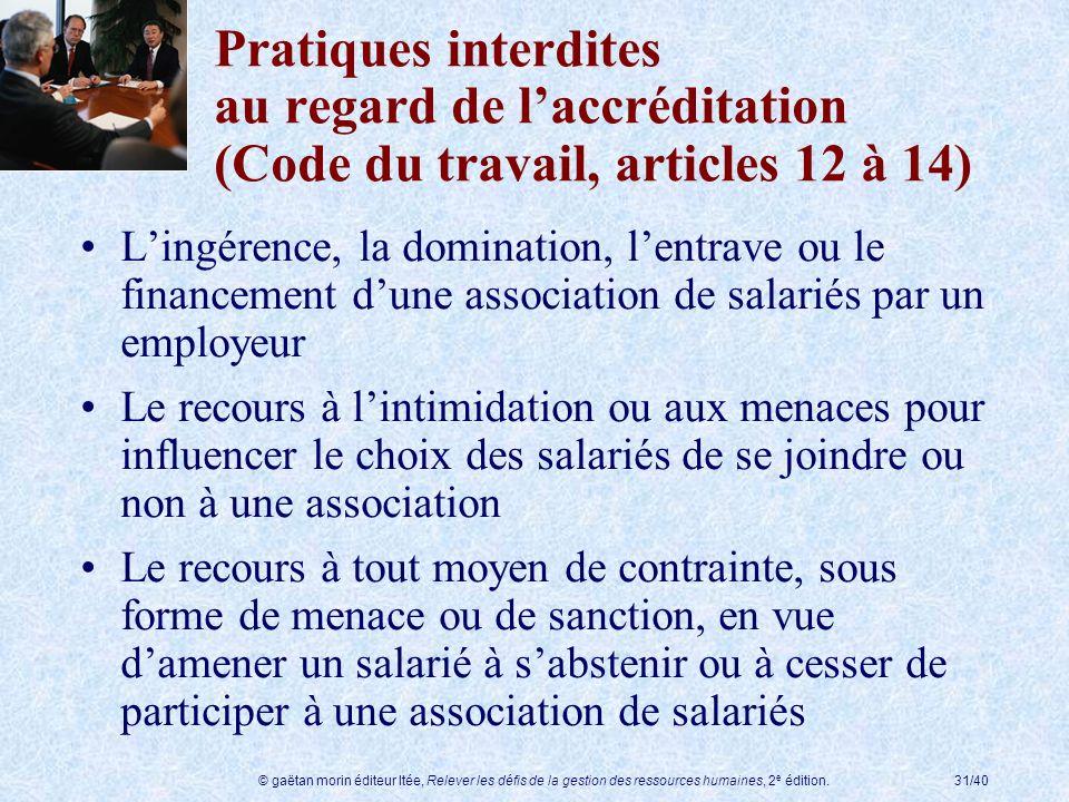 © gaëtan morin éditeur ltée, Relever les défis de la gestion des ressources humaines, 2 e édition.31/40 Pratiques interdites au regard de laccréditati