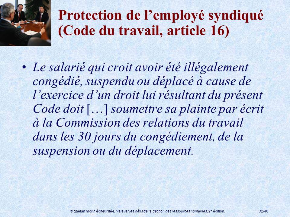 © gaëtan morin éditeur ltée, Relever les défis de la gestion des ressources humaines, 2 e édition.32/40 Protection de lemployé syndiqué (Code du trava
