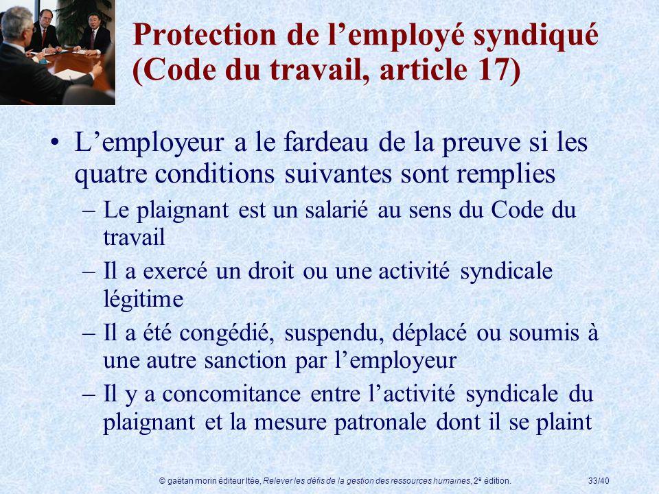 © gaëtan morin éditeur ltée, Relever les défis de la gestion des ressources humaines, 2 e édition.33/40 Protection de lemployé syndiqué (Code du trava