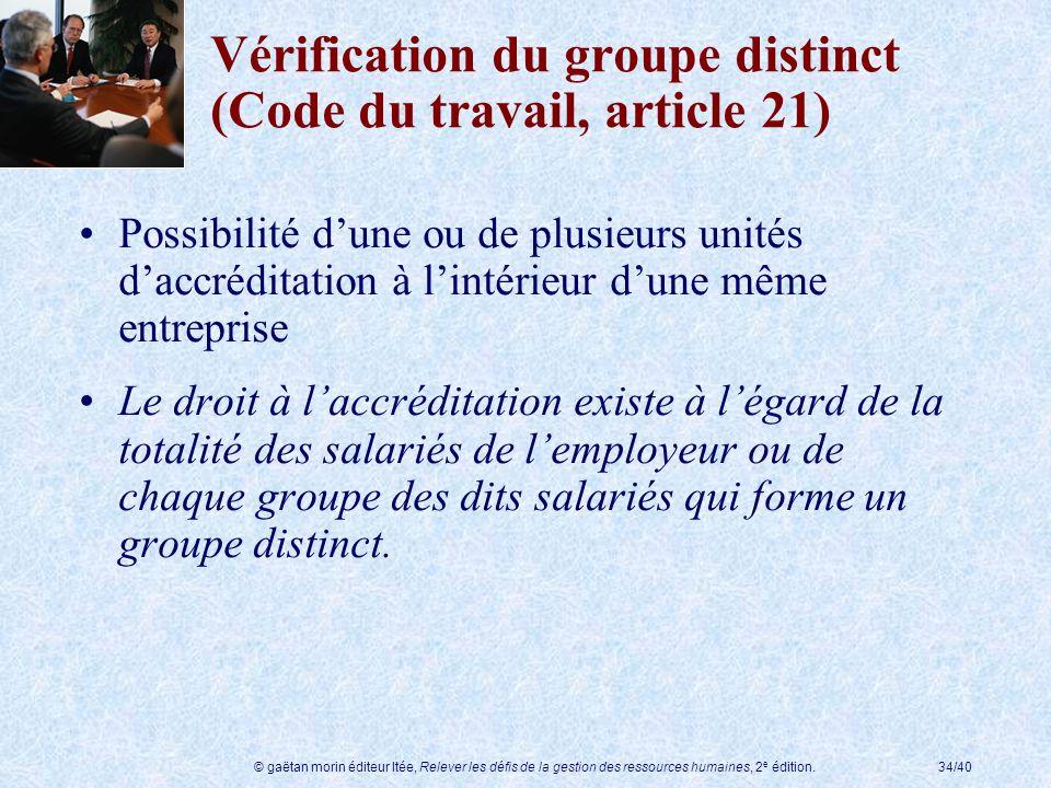 © gaëtan morin éditeur ltée, Relever les défis de la gestion des ressources humaines, 2 e édition.34/40 Vérification du groupe distinct (Code du trava