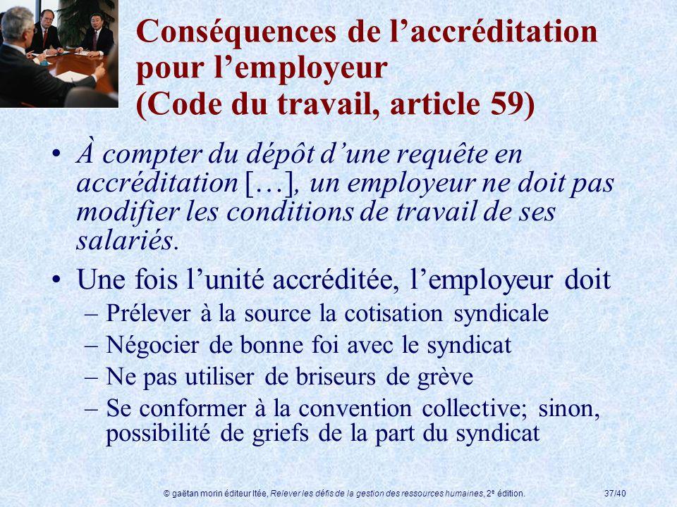 © gaëtan morin éditeur ltée, Relever les défis de la gestion des ressources humaines, 2 e édition.37/40 Conséquences de laccréditation pour lemployeur