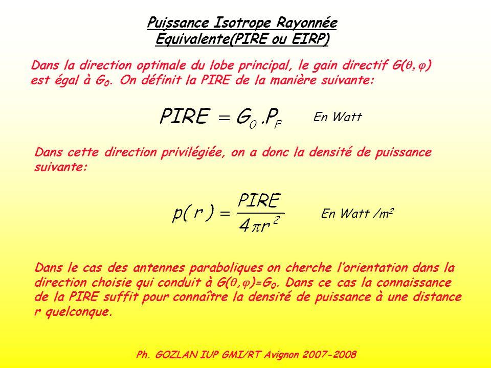 Puissance Isotrope Rayonnée Équivalente(PIRE ou EIRP) Dans la direction optimale du lobe principal, le gain directif G( ) est égal à G 0. On définit l
