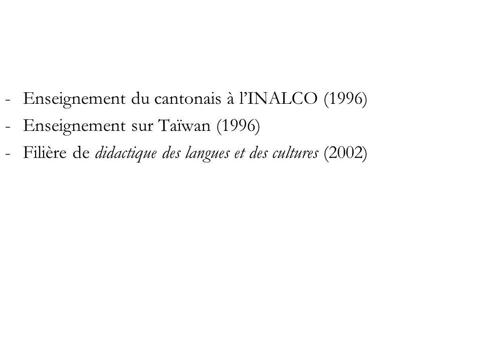 -Enseignement du cantonais à lINALCO (1996) -Enseignement sur Taïwan (1996) -Filière de didactique des langues et des cultures (2002)