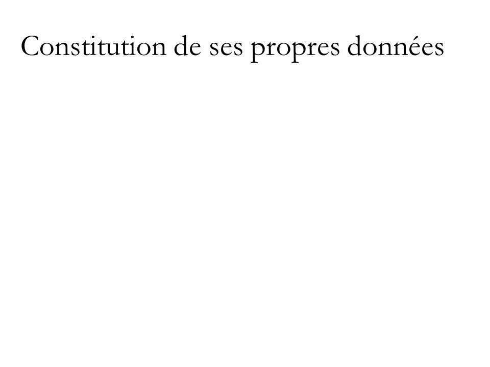 Constitution de ses propres données
