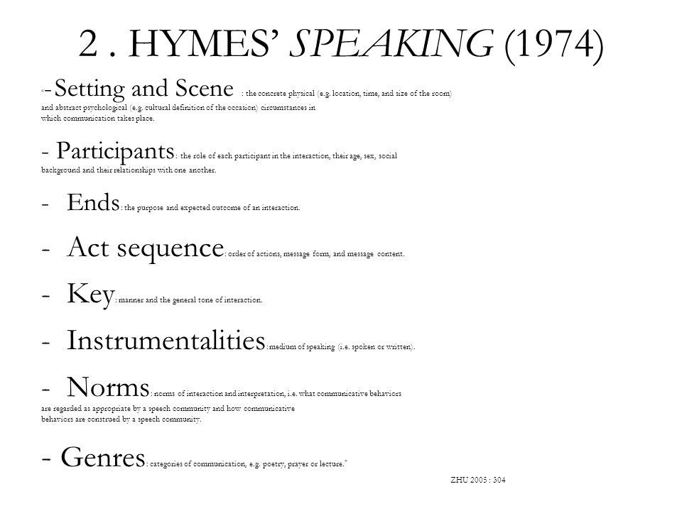 2. HYMES SPEAKING (1974) - Setting and Scene : the concrete physical (e.g. location, time, and size of the room) and abstract psychological (e.g. cult