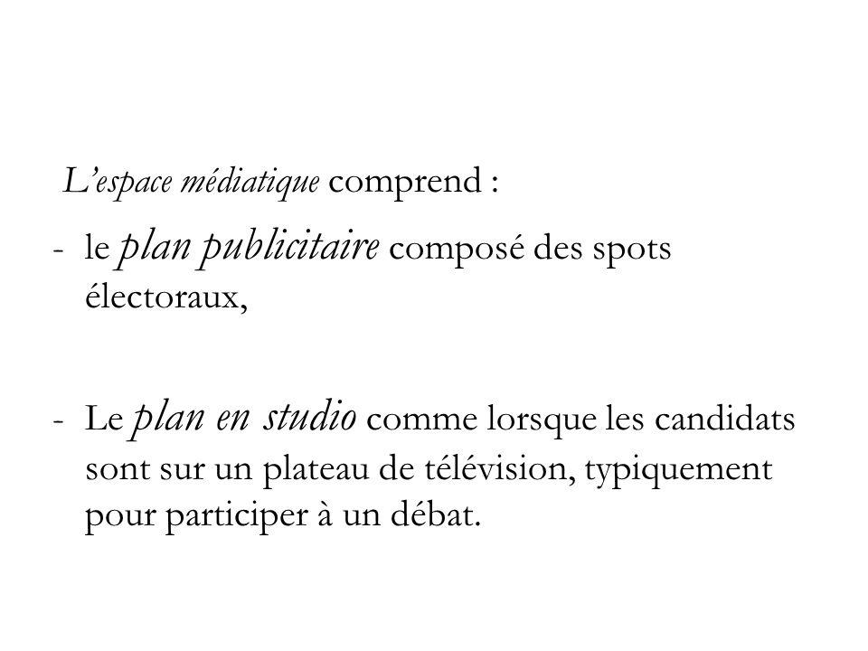Lespace médiatique comprend : -le plan publicitaire composé des spots électoraux, -Le plan en studio comme lorsque les candidats sont sur un plateau de télévision, typiquement pour participer à un débat.