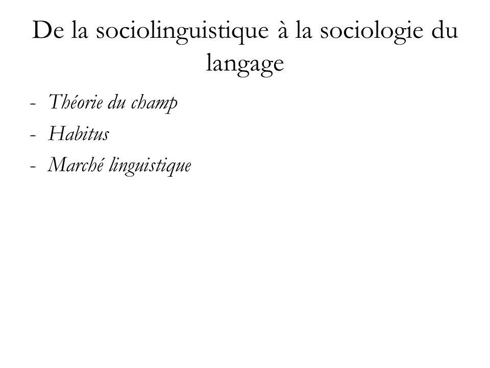 De la sociolinguistique à la sociologie du langage -Théorie du champ -Habitus -Marché linguistique