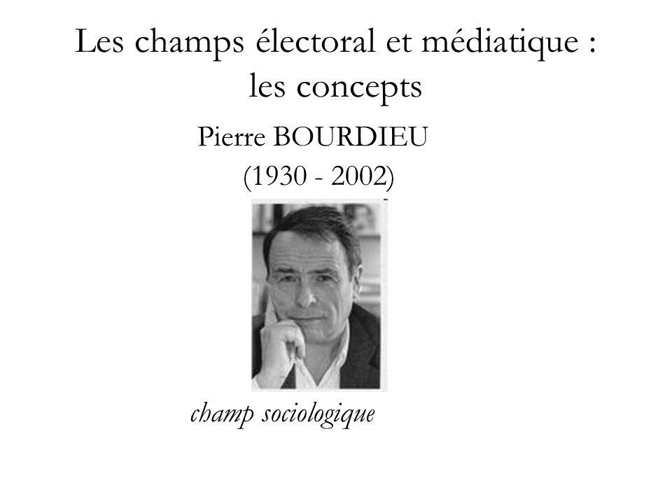 Les champs électoral et médiatique : les concepts Pierre BOURDIEU (1930 - 2002) champ sociologique