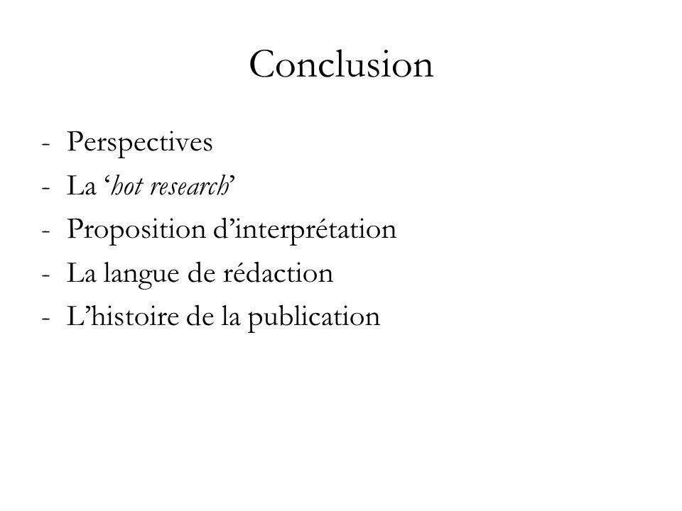 Conclusion -Perspectives -La hot research -Proposition dinterprétation -La langue de rédaction -Lhistoire de la publication