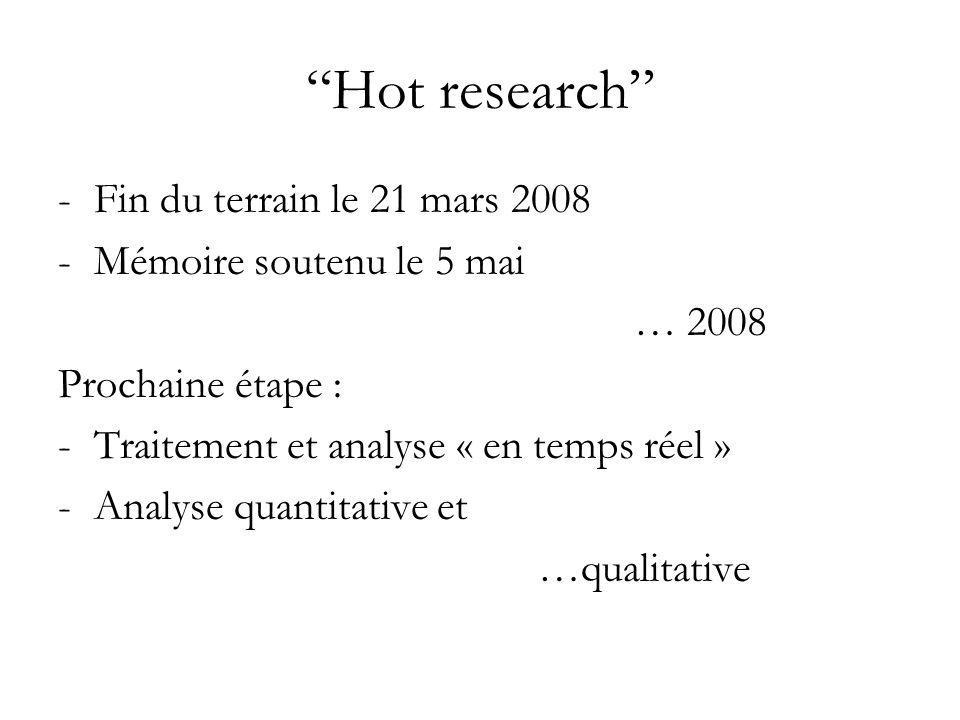 Hot research -Fin du terrain le 21 mars 2008 -Mémoire soutenu le 5 mai … 2008 Prochaine étape : -Traitement et analyse « en temps réel » -Analyse quantitative et …qualitative