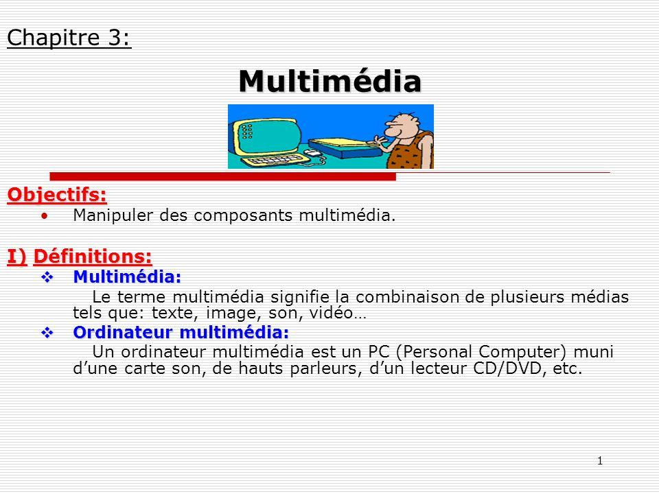 1 Objectifs: Manipuler des composants multimédia. I) Définitions: Multimédia: Multimédia: Le terme multimédia signifie la combinaison de plusieurs méd