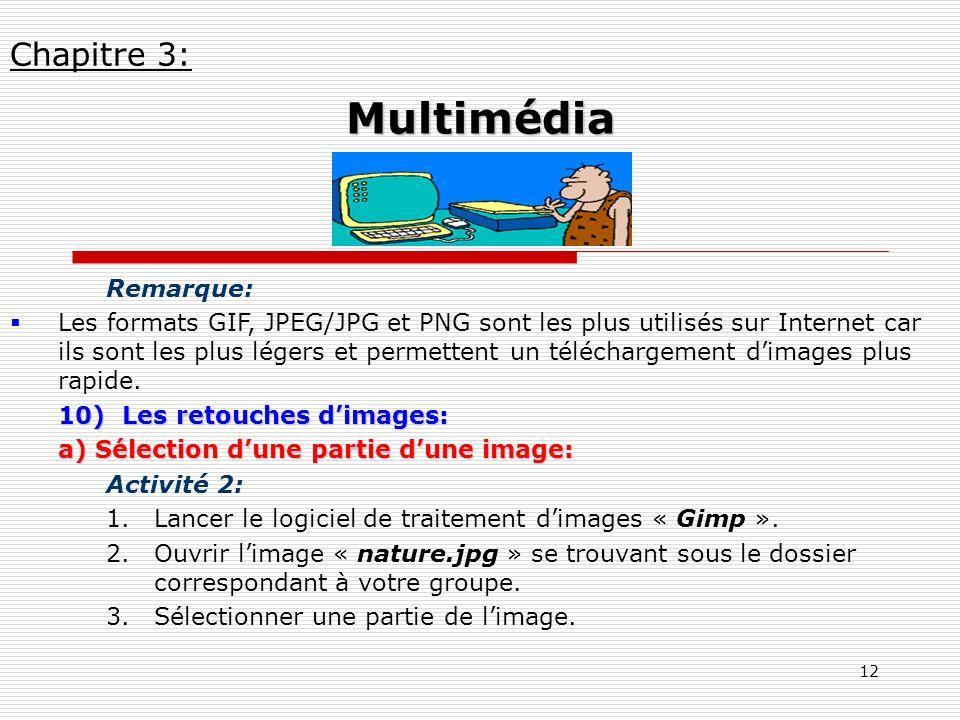 12 Remarque: Les formats GIF, JPEG/JPG et PNG sont les plus utilisés sur Internet car ils sont les plus légers et permettent un téléchargement dimages
