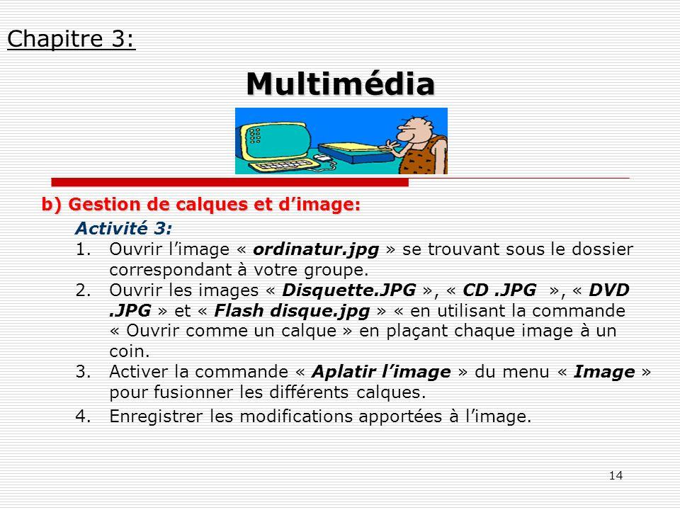 14 b) Gestion de calques et dimage: Activité 3: 1.Ouvrir limage « ordinatur.jpg » se trouvant sous le dossier correspondant à votre groupe. 2.Ouvrir l