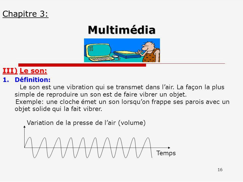 16 III) Le son: 1.Définition: Le son est une vibration qui se transmet dans lair. La façon la plus simple de reproduire un son est de faire vibrer un