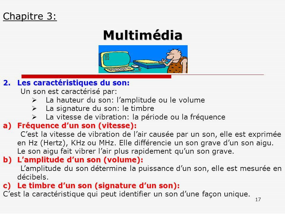 17 2.Les caractéristiques du son: Un son est caractérisé par: La hauteur du son: lamplitude ou le volume La signature du son: le timbre La vitesse de