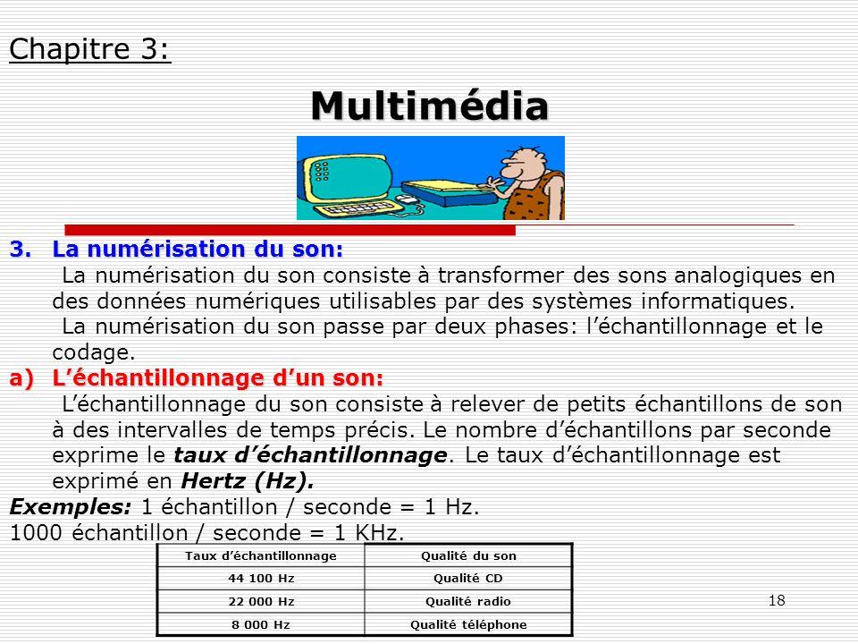 18 3.La numérisation du son: La numérisation du son consiste à transformer des sons analogiques en des données numériques utilisables par des systèmes