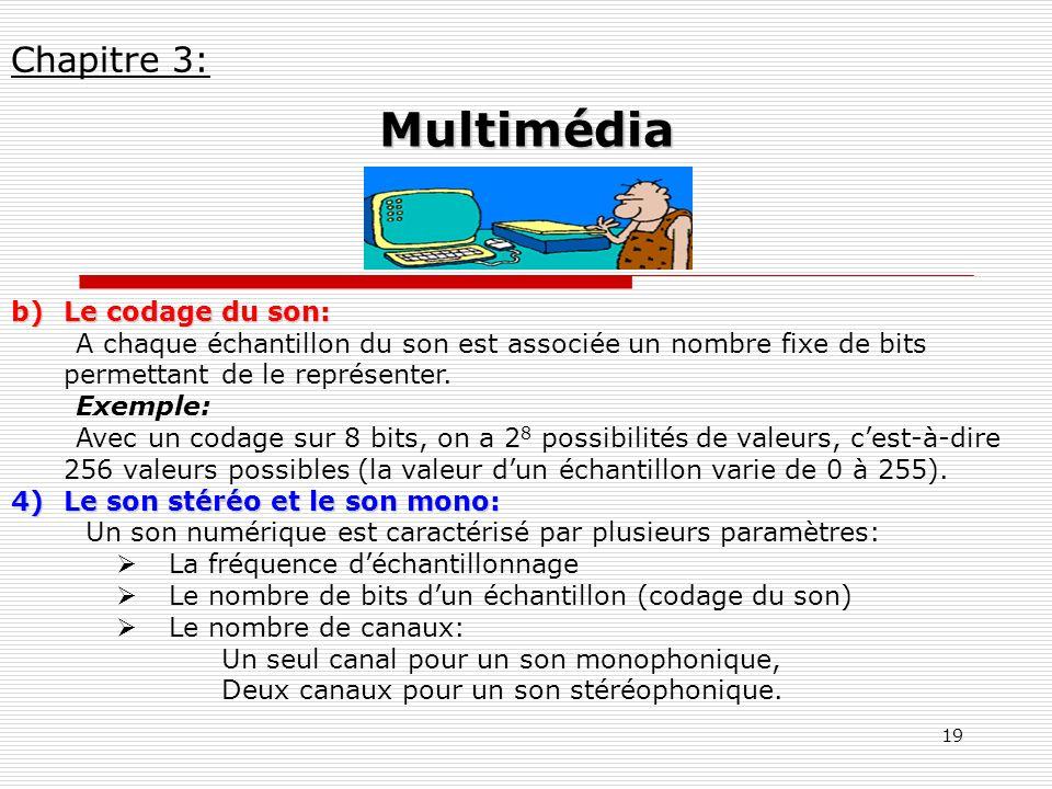 19 b)Le codage du son: A chaque échantillon du son est associée un nombre fixe de bits permettant de le représenter. Exemple: Avec un codage sur 8 bit