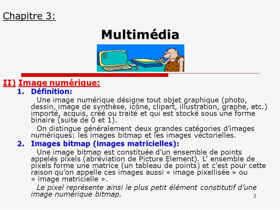 2 II) Image numérique: 1.Définition: Une image numérique désigne tout objet graphique (photo, dessin, image de synthèse, icône, clipart, illustration,