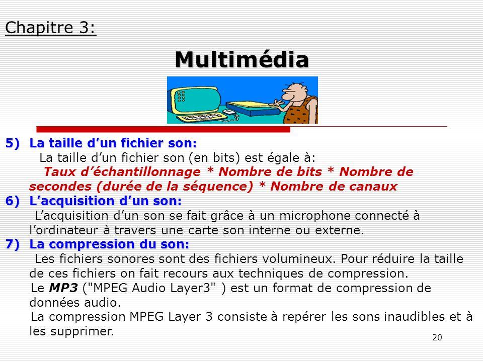 20 5)La taille dun fichier son: La taille dun fichier son (en bits) est égale à: Taux déchantillonnage * Nombre de bits * Nombre de secondes (durée de