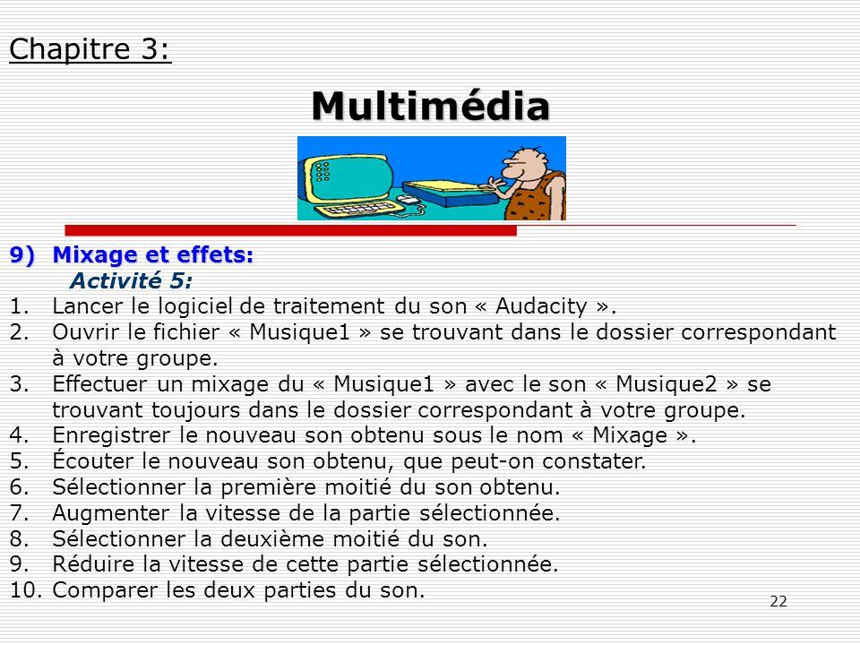 22 9)Mixage et effets: Activité 5: 1.Lancer le logiciel de traitement du son « Audacity ». 2.Ouvrir le fichier « Musique1 » se trouvant dans le dossie