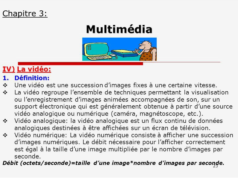 23 IV) La vidéo: 1.Définition: Une vidéo est une succession dimages fixes à une certaine vitesse. La vidéo regroupe lensemble de techniques permettant