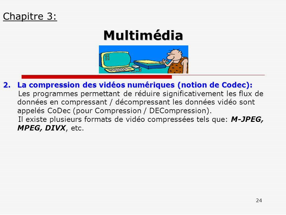 24 2.La compression des vidéos numériques (notion de Codec): Les programmes permettant de réduire significativement les flux de données en compressant
