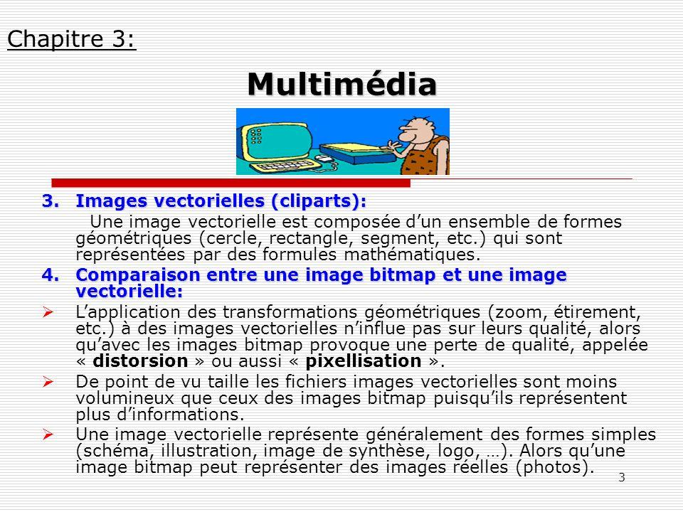 3 3.Images vectorielles (cliparts): Une image vectorielle est composée dun ensemble de formes géométriques (cercle, rectangle, segment, etc.) qui sont