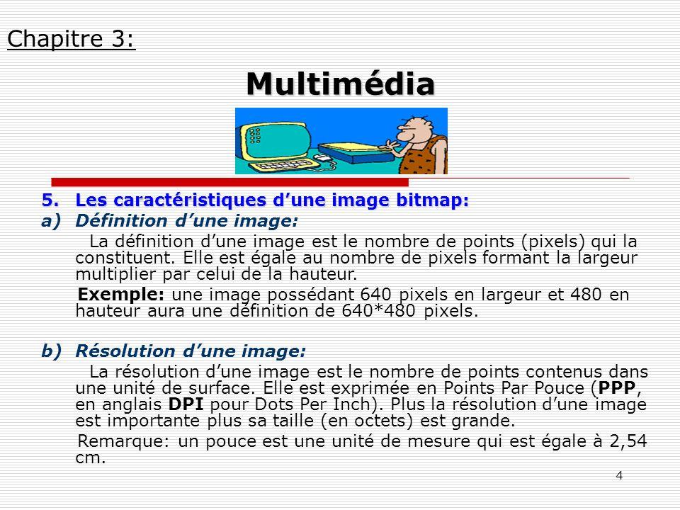 4 5.Les caractéristiques dune image bitmap: a)Définition dune image: La définition dune image est le nombre de points (pixels) qui la constituent. Ell