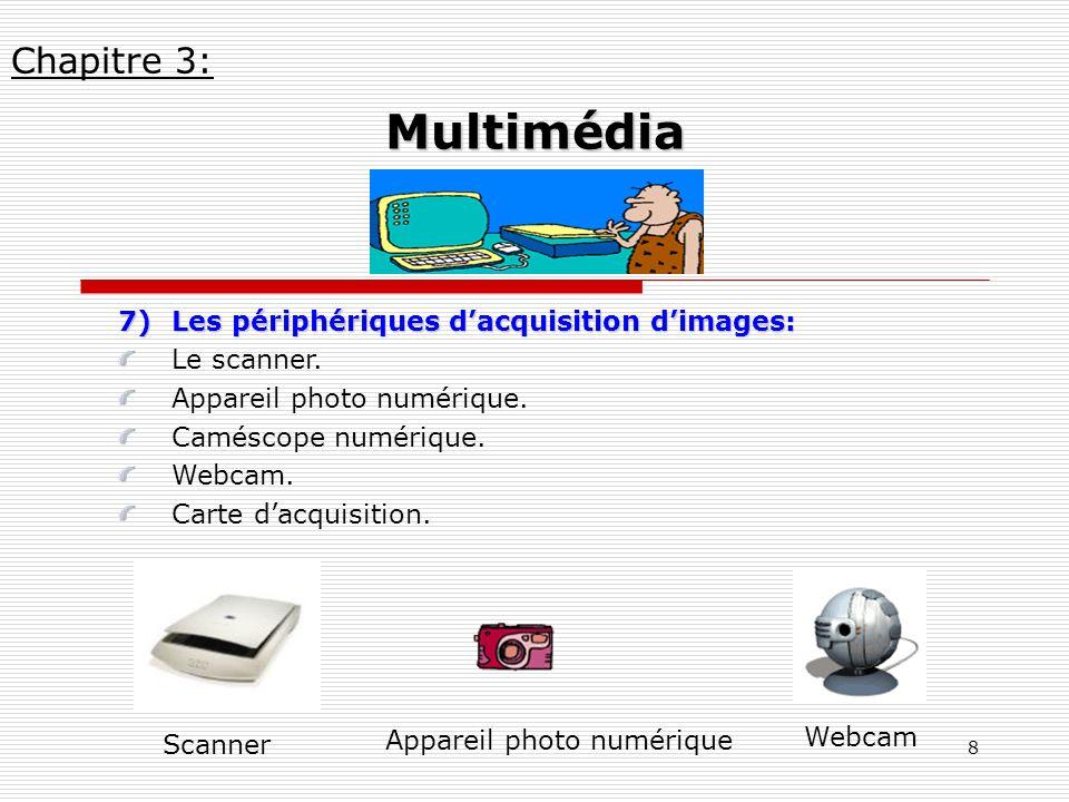 8 7)Les périphériques dacquisition dimages: Le scanner. Appareil photo numérique. Caméscope numérique. Webcam. Carte dacquisition. Chapitre 3: Multimé