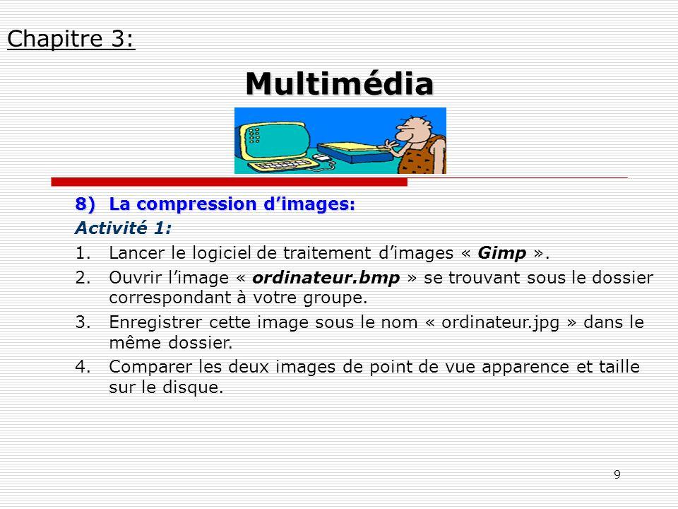 9 8)La compression dimages: Activité 1: 1.Lancer le logiciel de traitement dimages « Gimp ». 2.Ouvrir limage « ordinateur.bmp » se trouvant sous le do