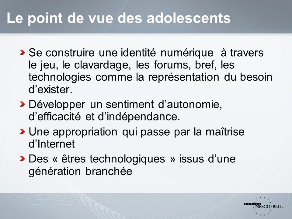 Le point de vue des adolescents Se construire une identité numérique à travers le jeu, le clavardage, les forums, bref, les technologies comme la représentation du besoin dexister.