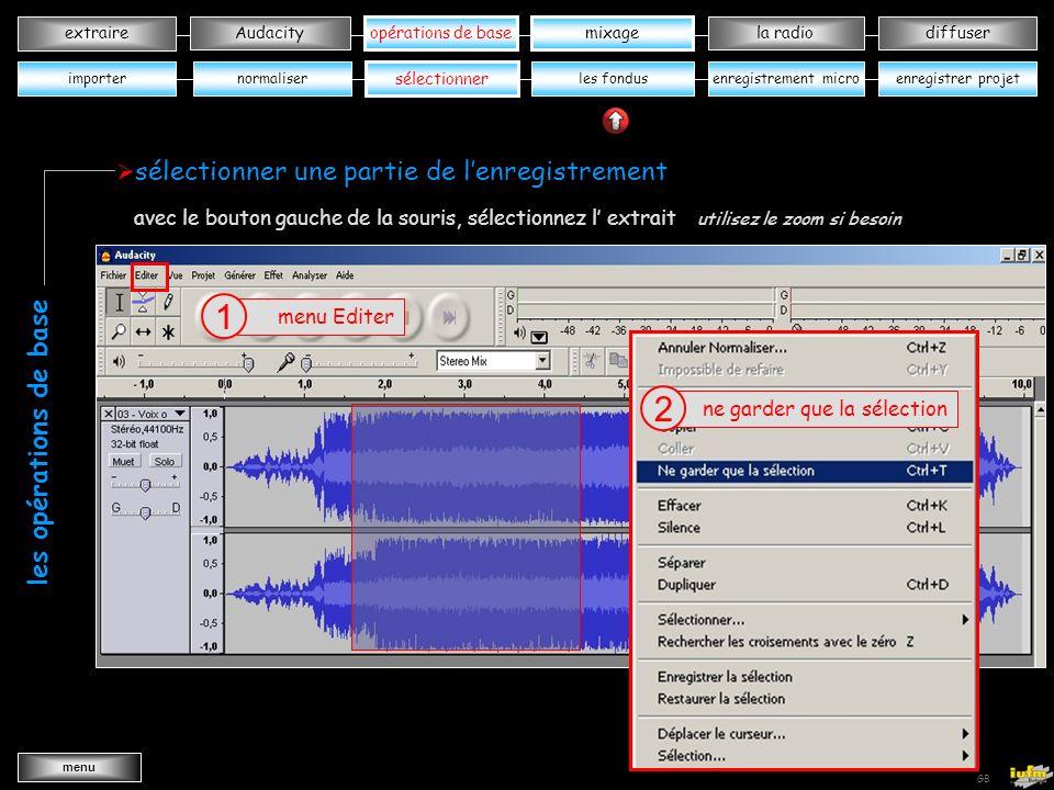 institutionnelles Didier ATTICA opérations de basele mixagela radiodiffuserAudacity extraire menu Wav->MP3 GB ouvrir « voix océanes» dans votre dossier musique 3 cliquer sur OK 3 normaliser opérations de base sélectionnerles fondusenregistrer projetenregistrement micro normaliser le niveau sonore les opérations de base importer mixage