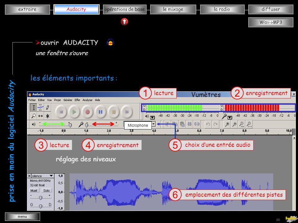 institutionnelles Didier ATTICA opérations de basele mixagela radiodiffuserAudacity extraire menu Wav->MP3 GB extraire vvvvvvvvvkkkkkkk extraire un fichier « son » cliquer sur MP3 3 fermer Cdex 4 X sélectionner une piste audio 1 donner un nom 2 une fenêtre souvre pendant lextraction du fichier Voix océanes celui-ci est enregistré dans votre dossier « musique »