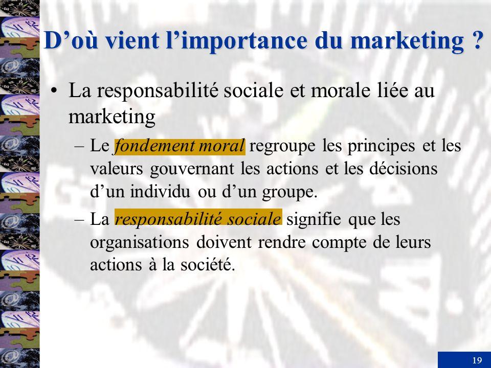 19 La responsabilité sociale et morale liée au marketing –Le fondement moral regroupe les principes et les valeurs gouvernant les actions et les décis
