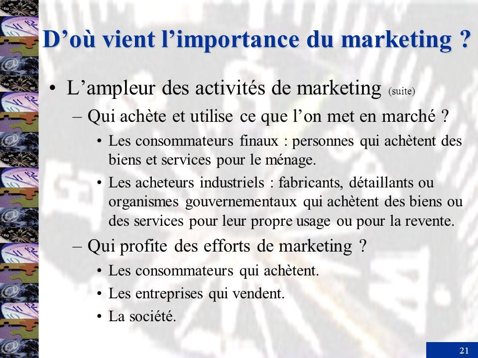21 Lampleur des activités de marketing (suite) –Qui achète et utilise ce que lon met en marché ? Les consommateurs finaux : personnes qui achètent des