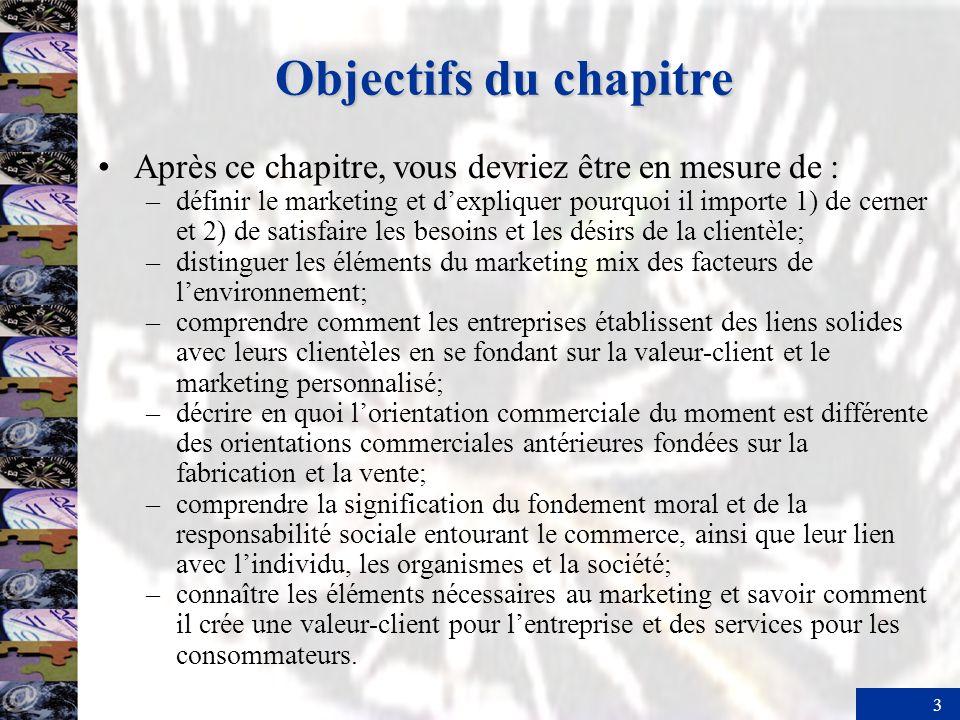 3 Objectifs du chapitre Après ce chapitre, vous devriez être en mesure de : –définir le marketing et dexpliquer pourquoi il importe 1) de cerner et 2)