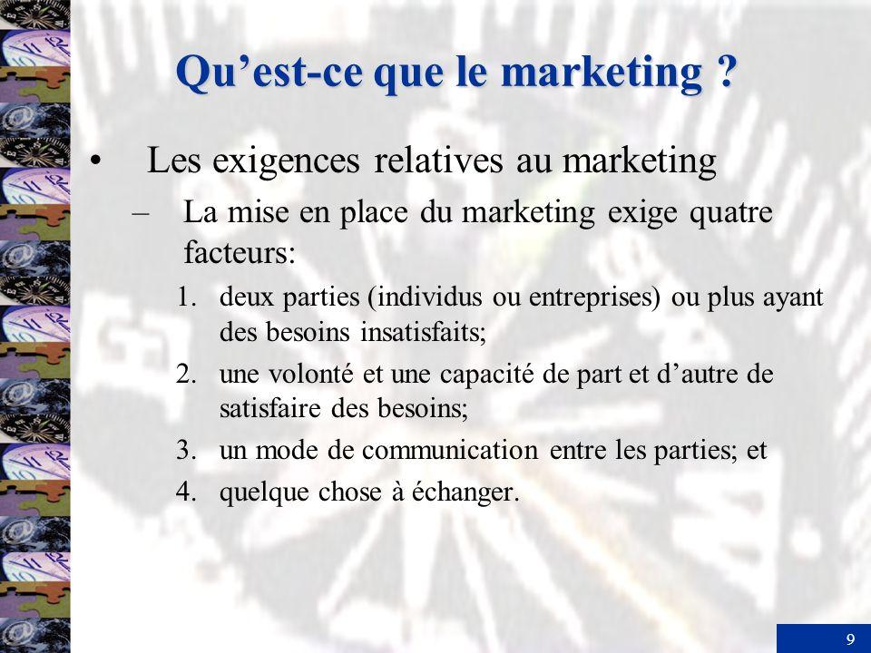 20 Lampleur des activités de marketing –Qui pratique le marketing .