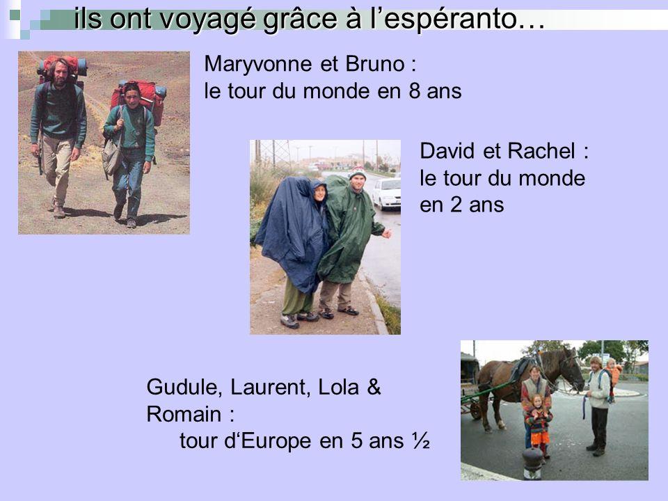 ils ont voyagé grâce à lespéranto… David et Rachel : le tour du monde en 2 ans Gudule, Laurent, Lola & Romain : tour dEurope en 5 ans ½ Maryvonne et Bruno : le tour du monde en 8 ans