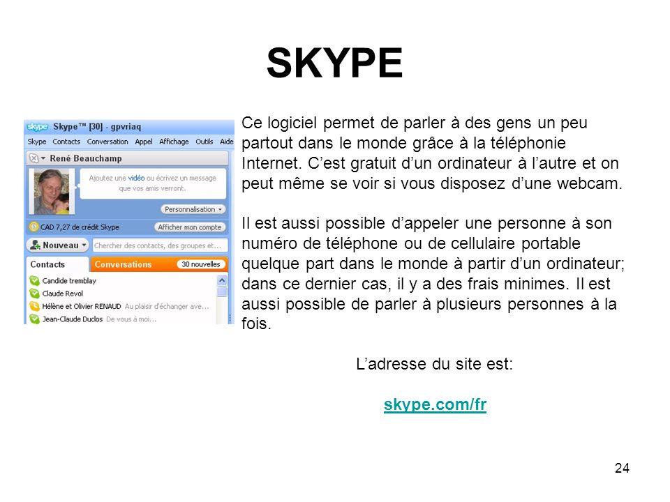 24 SKYPE Ce logiciel permet de parler à des gens un peu partout dans le monde grâce à la téléphonie Internet.