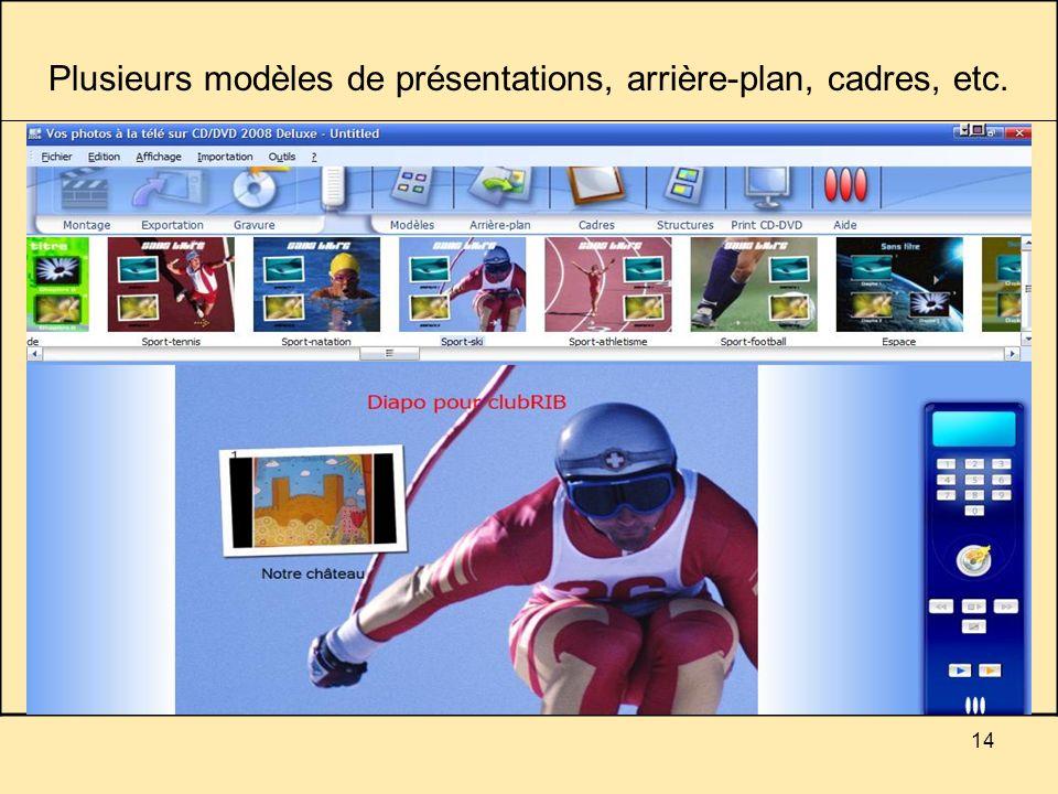 14 Plusieurs modèles de présentations, arrière-plan, cadres, etc.