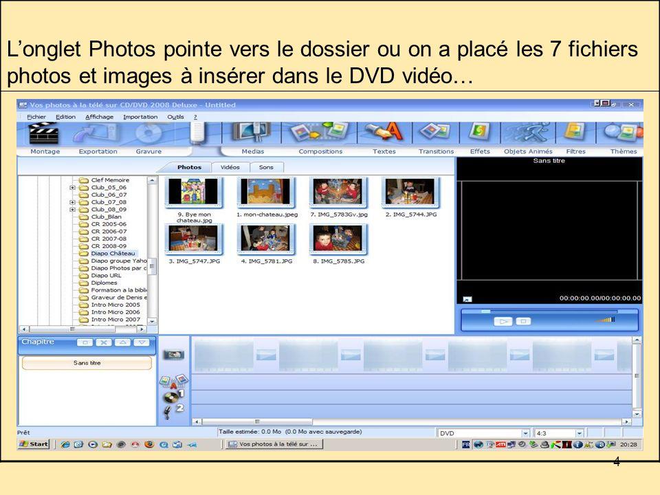 4 Longlet Photos pointe vers le dossier ou on a placé les 7 fichiers photos et images à insérer dans le DVD vidéo…