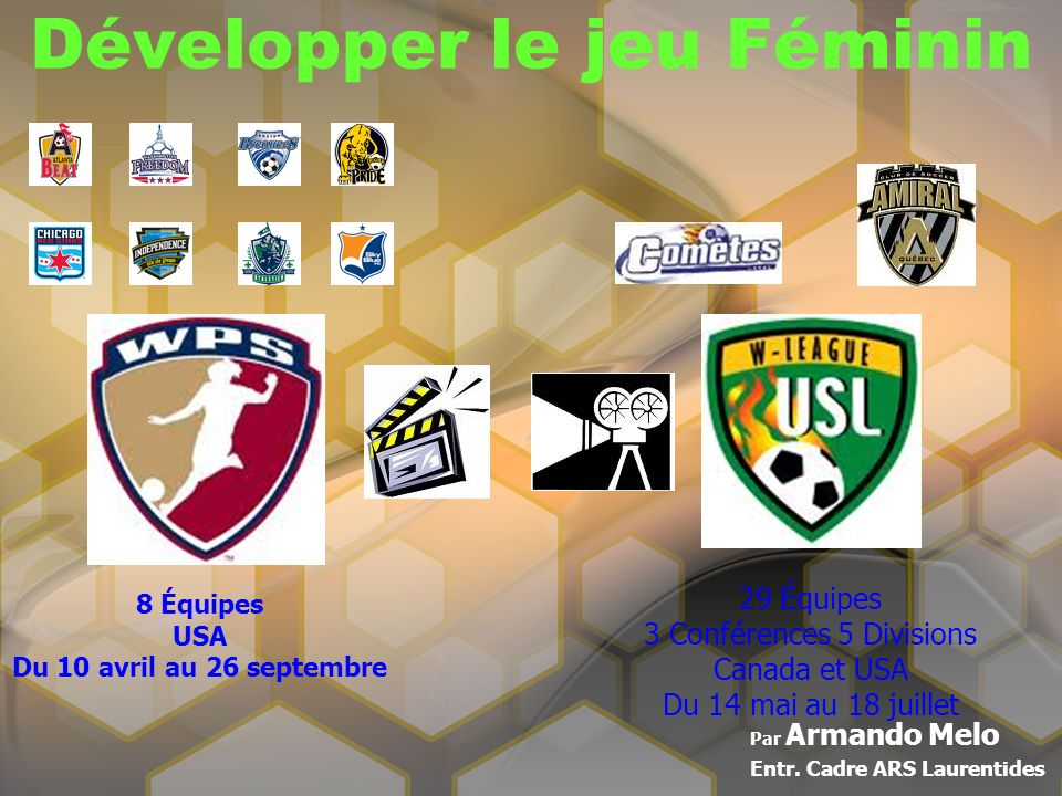 Développer le jeu Féminin Par Armando Melo Entr. Cadre ARS Laurentides 8 Équipes USA Du 10 avril au 26 septembre 29 Équipes 3 Conférences 5 Divisions