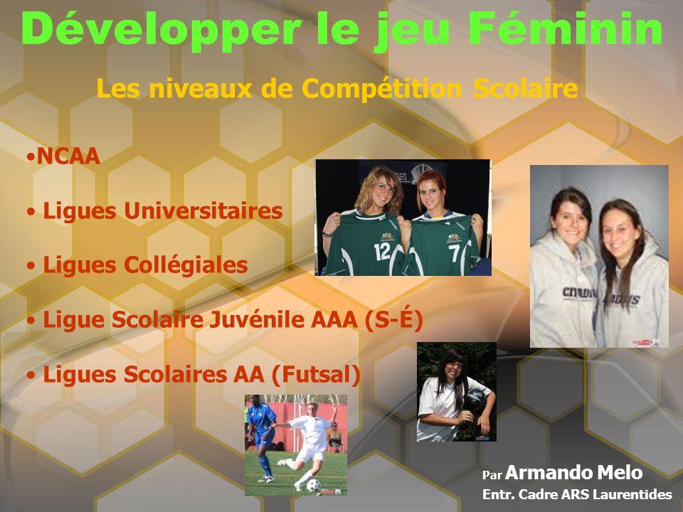 Développer le jeu Féminin Par Armando Melo Entr. Cadre ARS Laurentides Les niveaux de Compétition Scolaire NCAA Ligues Universitaires Ligues Collégial