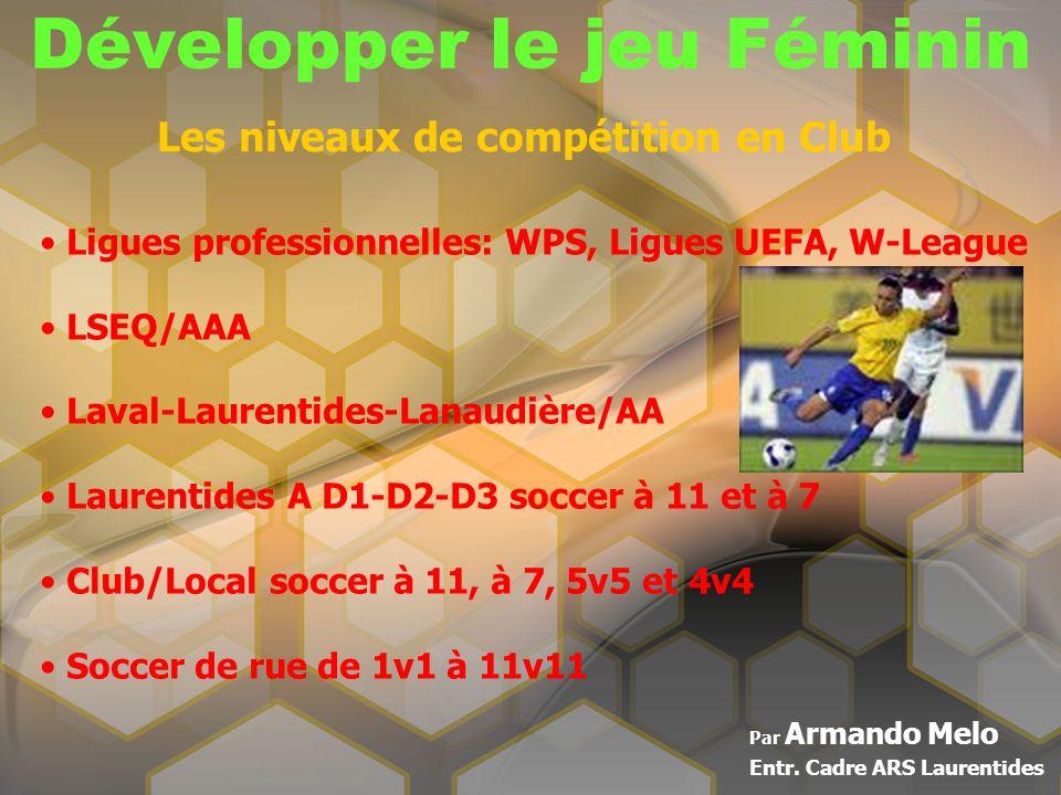 Développer le jeu Féminin Par Armando Melo Entr. Cadre ARS Laurentides Les niveaux de compétition en Club Ligues professionnelles: WPS, Ligues UEFA, W