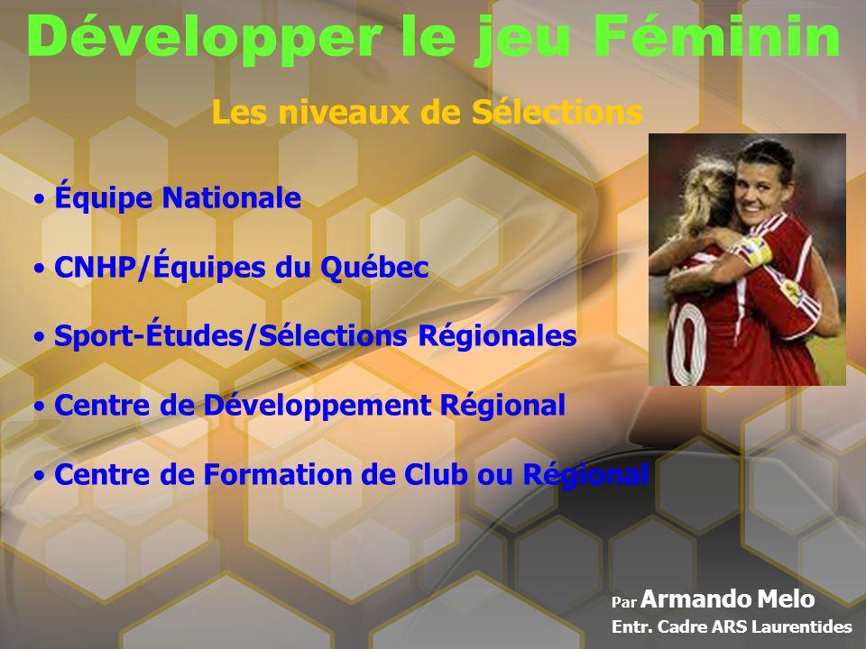 Développer le jeu Féminin Par Armando Melo Entr. Cadre ARS Laurentides Les niveaux de Sélections Équipe Nationale CNHP/Équipes du Québec Sport-Études/