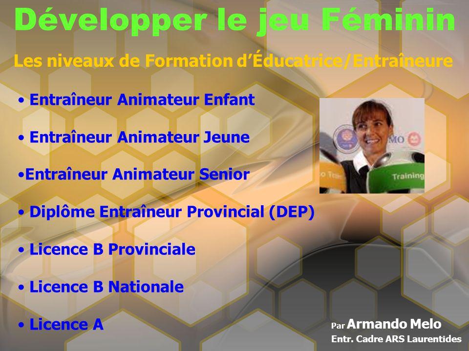Développer le jeu Féminin Par Armando Melo Entr. Cadre ARS Laurentides Les niveaux de Formation dÉducatrice/Entraîneure Entraîneur Animateur Enfant En
