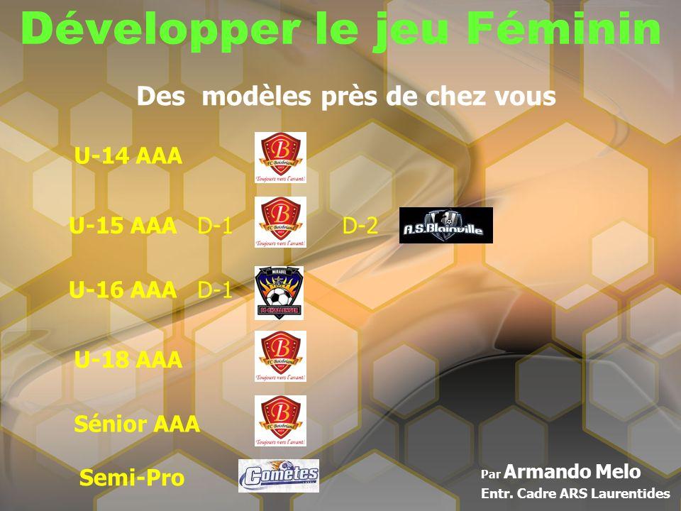Développer le jeu Féminin Par Armando Melo Entr. Cadre ARS Laurentides Des modèles près de chez vous U-14 AAA U-15 AAAD-1D-2 U-16 AAAD-1 U-18 AAA Séni